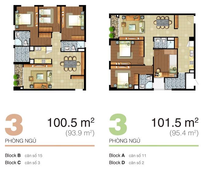 mặt bằng căn hộ lexington 100.5m2-101.5m2