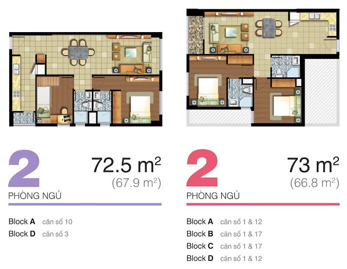 mặt bằng căn hộ lexington 72.5m2-73m2