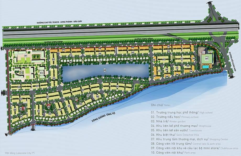 mặt bằng dự án Lakeview City