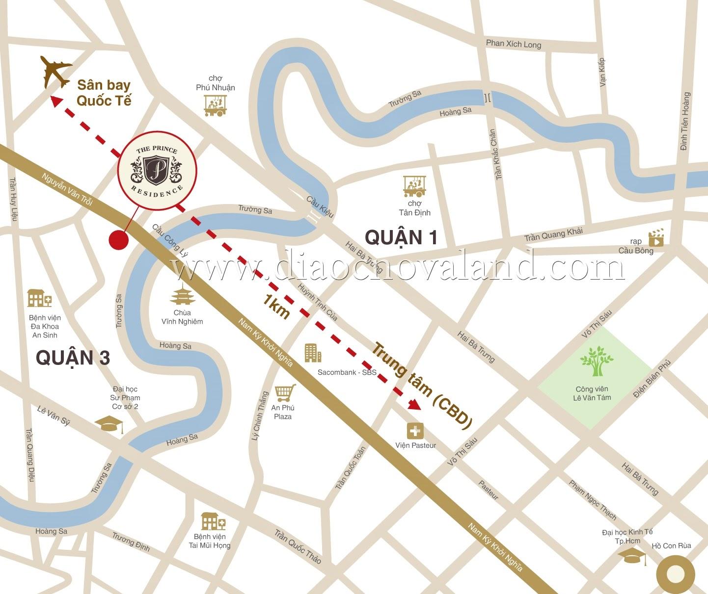vị trí căn hộ The Prince quận Phú Nhuận