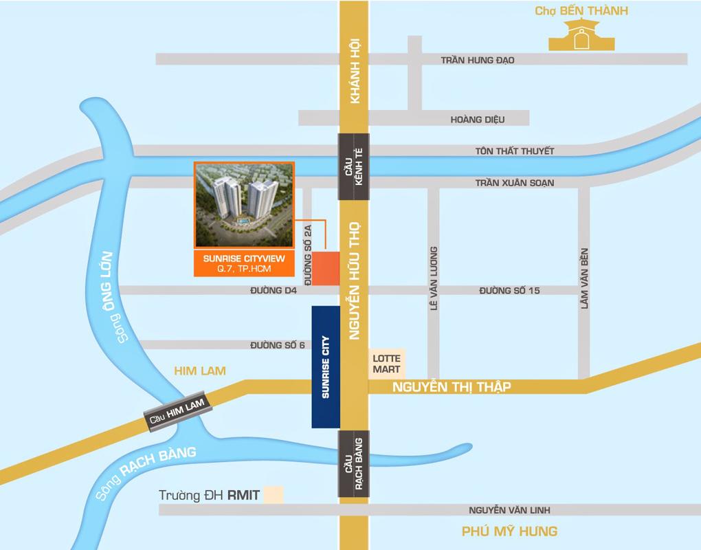 vị trí căn hộ sunrise cityview quận 7