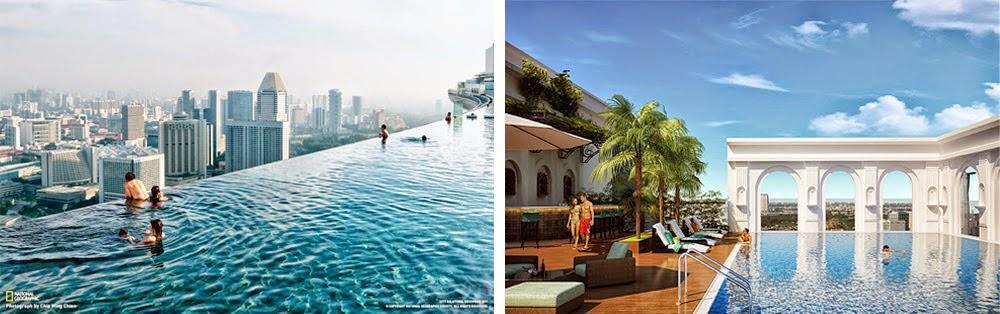 Hồ bơi tràn tầng 25 căn hộ Icon 56