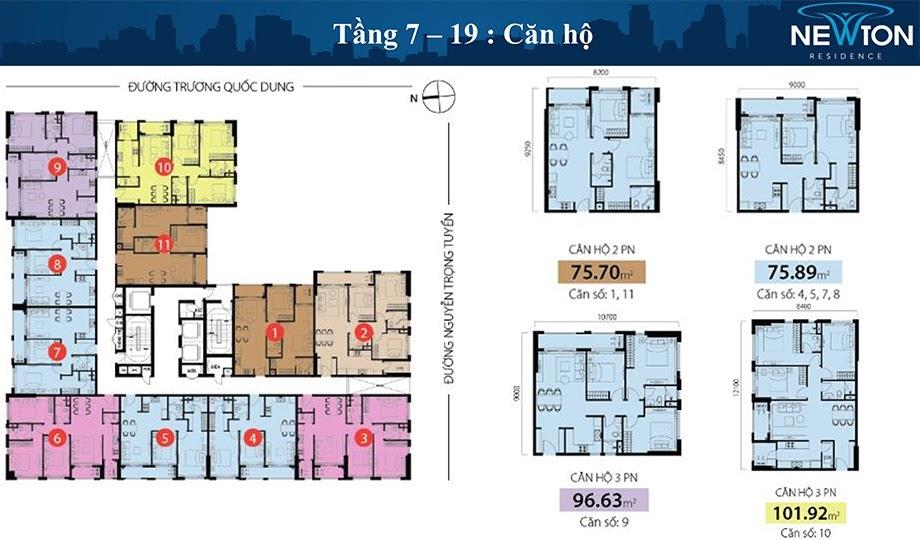 mặt bằng căn hộ newton tầng 7-19