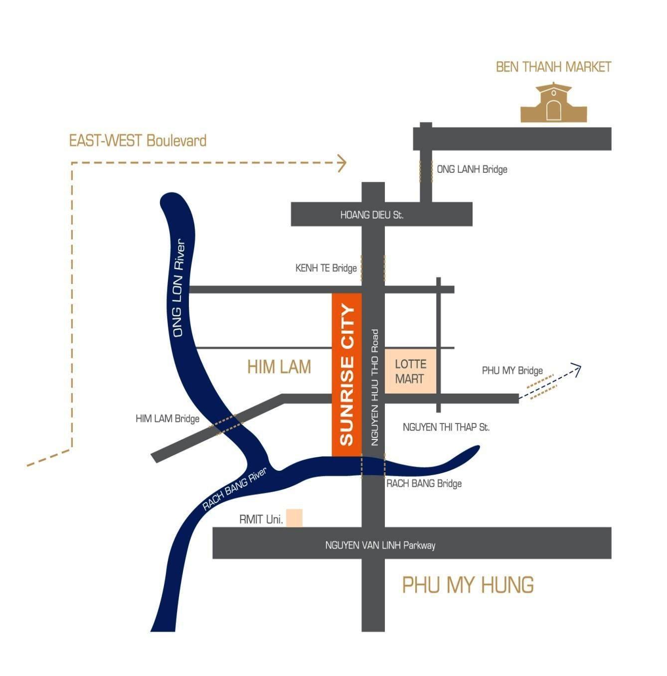 vị trí căn hộ Sunrise city